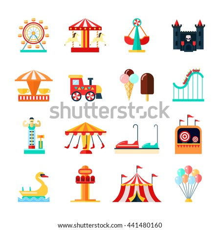 Amusement park for children with attractions icons set flat isolated vector illustration  - stock vector