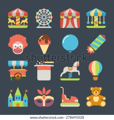 Amusement park fun fairground carnival flat icons set isolated vector illustration - stock vector