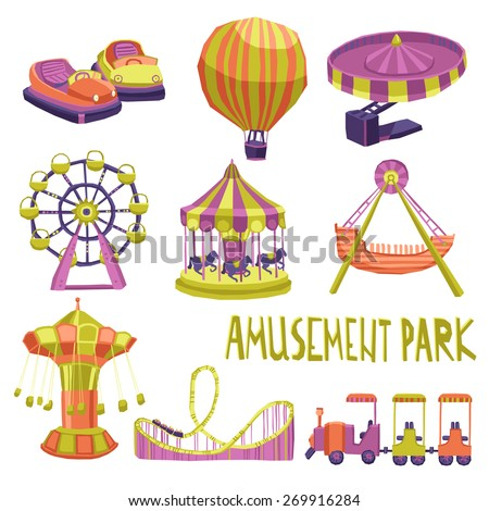 Amusement park funfair carnival summer attraction icons set isolated vector illustration - stock vector