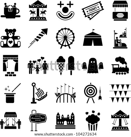Amusement Park icons - stock vector