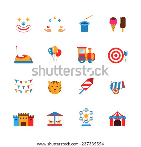 Amusement park icons flat set with clown juggler balloons isolated vector illustration - stock vector