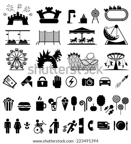 Amusement park icons. Icons set fun and entertainment. Pictogram icon set. - stock vector