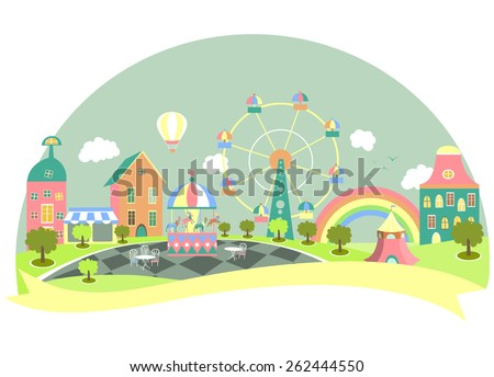 Amusement park in flat style. Vector illustration - stock vector