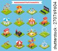 Amusement park isometric icons set with 3d ferris-wheel ice cream and balloons isolated vector illustration - stock vector