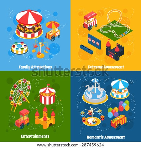 Amusement park isometric set with family attractions extreme and romantic entertainment isolated vector illustration - stock vector