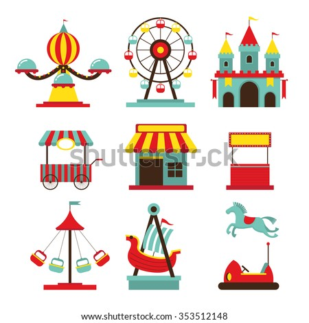 Amusement Park Objects Flat Icons Set, Theme Park, Carnival, Fun Fair, Circus - stock vector