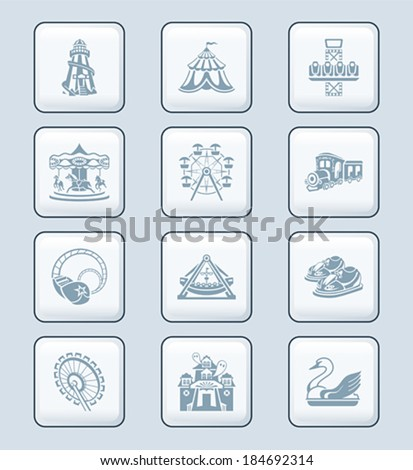 Amusement park or funfair attraction gray icon-set - stock vector