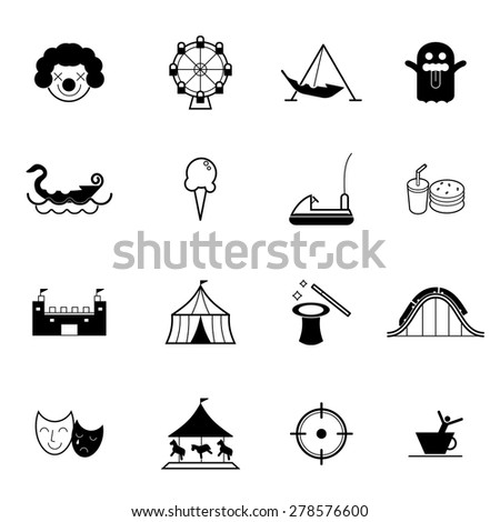 Amusement park or funfair attraction vector illustration icon set - stock vector