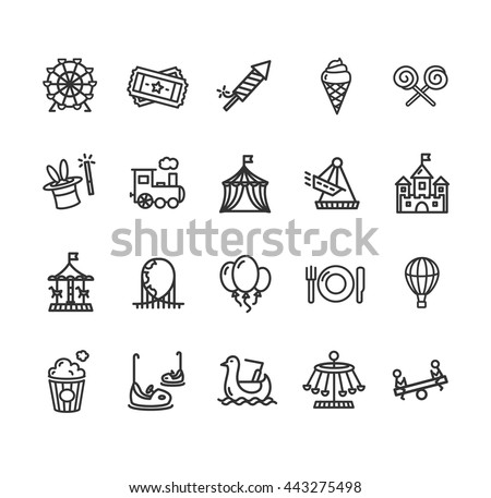 Amusement Park Outline Icon Set Isolated on White Background. Vector illustration - stock vector