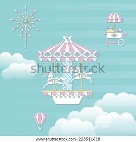 Amusement park playground equipment. Merry-go-round - stock vector