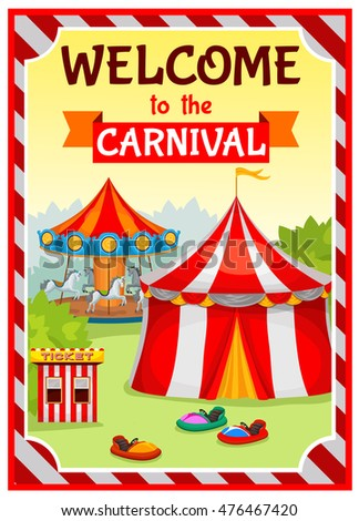 Amusement park poster with circus tent and carousel on natural landscape background with striped substrate vector illustration