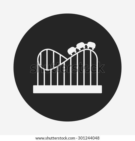 amusement park roller coaster icon - stock vector