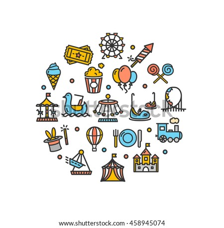 Amusement Park Round Design Template Thin Line Icon Set Isolated on White Background. Vector illustration - stock vector