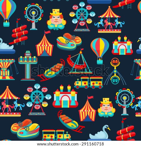 Amusement park seamless pattern with children attractions flat vector illustration - stock vector