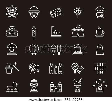 AMUSEMENT PARK set of outline icons - stock vector