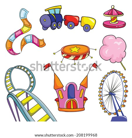 amusement park, set, vector illustration on white background - stock vector