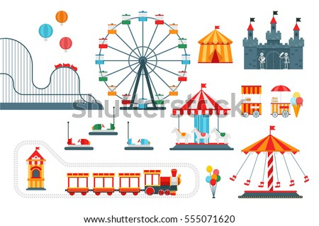Amusement park vector flat elements isolated on white background for infographic map design. Architecture entertainment elements for family rest in the park. Colorful Ferris wheel, carousel, circus