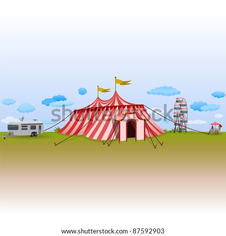 Amusement Park with Circus - stock vector