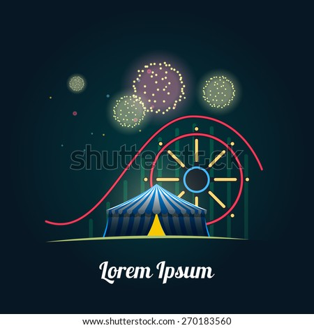 Amusement park with fireworks - stock vector