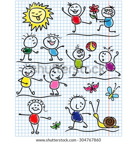 Amusing scenes with smiling sun and set of several kid figures, sketching colored cartoon vector artwork as a childish drawing on a sheet of school copybook - stock vector