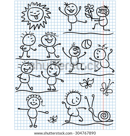 Amusing smiling sun and set of several kid figures in various funny scenes, sketching cartoon vector artwork as a childish drawing on a sheet of school copybook - stock vector