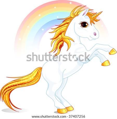 An a vector illustration of rearing up unicorn