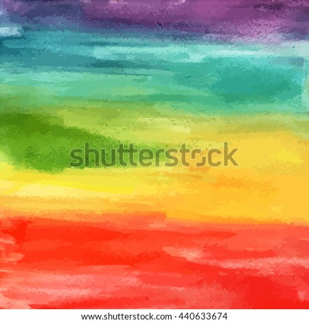 An abstract background with rainbow colored watercolor stains; artistic texture with brushstrokes; birthday or wedding design background with a place for text; scalable vector graphic - stock vector