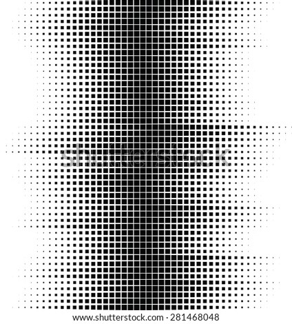 An abstract black and white wavy halftone background consisting of squares. - stock vector