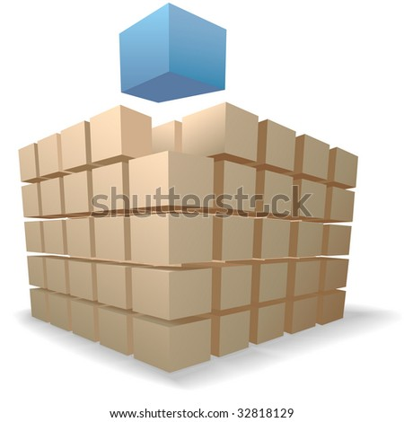 An abstract blue cube rises up from stacks of puzzle boxes or cartons on a shadow on white. - stock vector