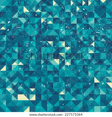 An abstract blue pixel style vector background with a grunge texture - stock vector