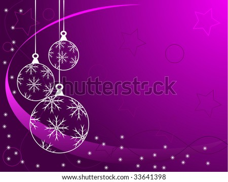 An abstract Christmas vector illustration with white outline baubles on a purple backdrop with white snowflakes and room for text - stock vector