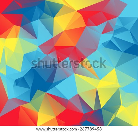 An abstract colorful background of red, yellow, orange, and blue triangles. These are autism awareness colors.  - stock vector