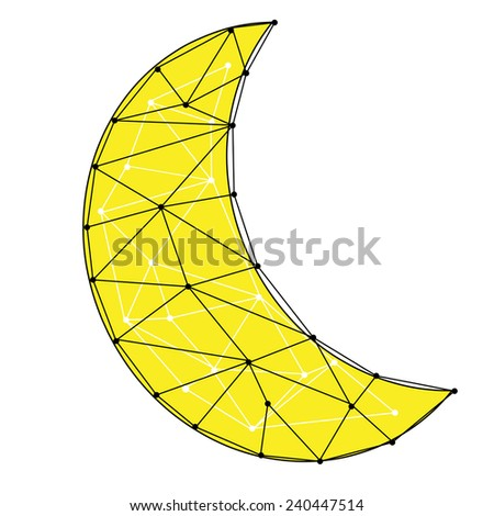 An abstract geometric crescent moon design - stock vector