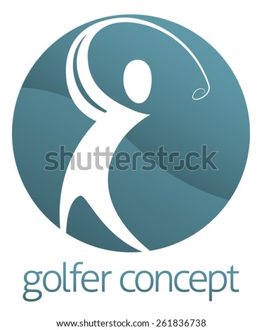 An abstract golfer figure swinging his golf club circle concept design - stock vector