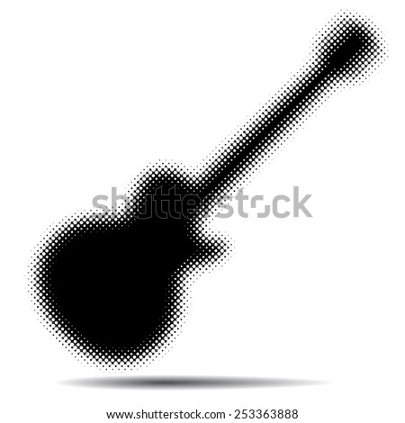 An Abstract Guitar Background in Black and White - stock vector