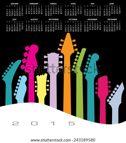 An abstract 2015 Guitar music calendar for Print or Web - stock vector