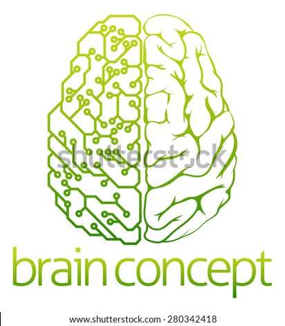 An abstract illustration of a brain electrical circuit concept design - stock vector