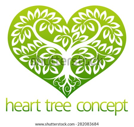 An abstract illustration of a tree growing into the shape of a heart symbol icon concept design - stock vector