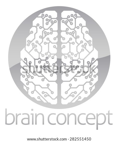 An abstract illustration of an electronic brain, ai artificial intelligence circle concept design - stock vector