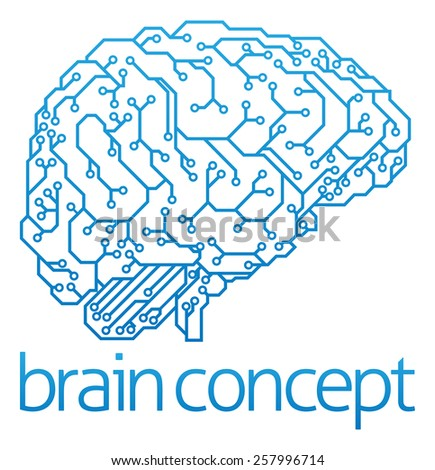 An abstract illustration of an electronic circuit board brain in profile, ai artificial intelligence concept - stock vector