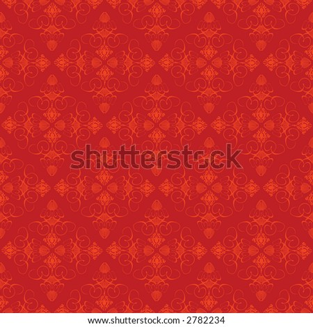 An abstract old fashioned style wallpaper in red and orange - stock vector