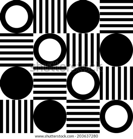 An abstract pattern with circles and stripes - stock vector