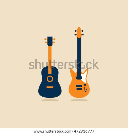 An acoustic and an electric guitar side by side