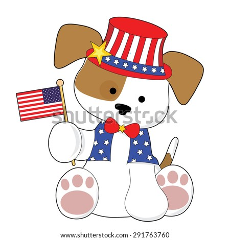 An adorable puppy wearing a top hat and holding the American flag. He is all ready for the Fourth of July - stock vector