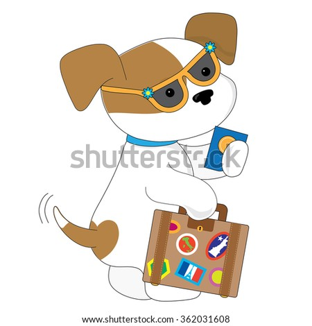 An adorable spotted puppy is getting ready to travel. She has a suitcase in one hand and a passport in the other - stock vector