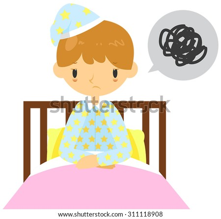 An adult man is having  insomnia problem and can't sleep on his bed, create by cartoon vector - stock vector
