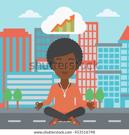 An african-american business woman with eyes closed doing yoga and meditating in lotus pose outdoors and thinking about the growth graph. Vector flat design illustration. Square layout. - stock vector