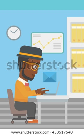 An african-american businessman working on his laptop in office and receiving or sending email. Business technology, email concept. Vector flat design illustration. Vertical layout. - stock vector