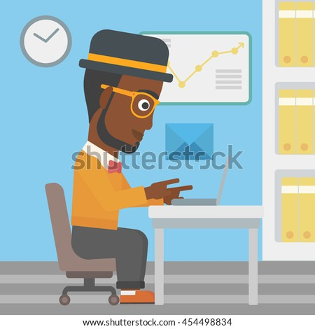 An african-american businessman working on his laptop in office and receiving or sending email. Business technology, email concept. Vector flat design illustration. Square layout. - stock vector