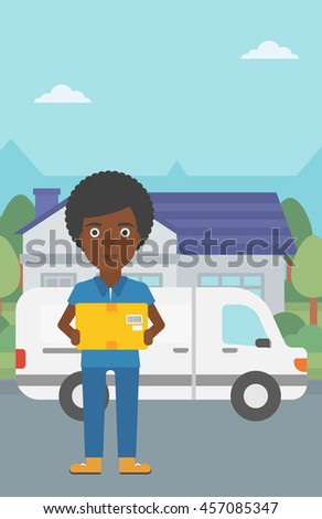 An african-american delivery woman with a cardboard box standing on background of delivery truck. Woman with a cardboard box in her hands. Vector flat design illustration. Vertical layout.